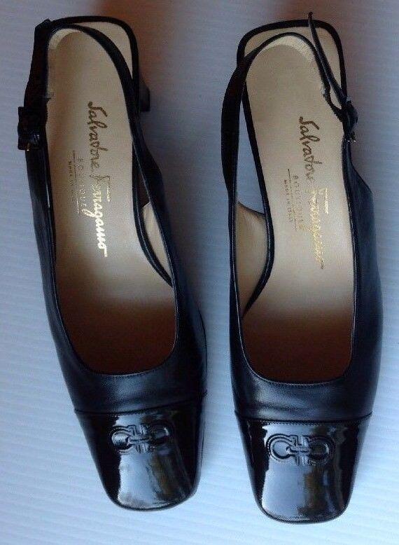 Salvatore Ferragamo-Cuero Negro Puntera ESLINGA vuelta Zapatos Zapatos Zapatos Taco de Bloque 38.5  marca de lujo