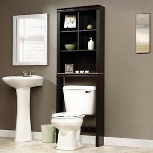 Image Is Loading Modern Cherry Wood Over Toilet Storage Shelves Organizer