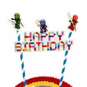 Lego Ninjago Gateau Bruant Banniere Dessus Decoration Joyeux Anniversaire Party Ebay