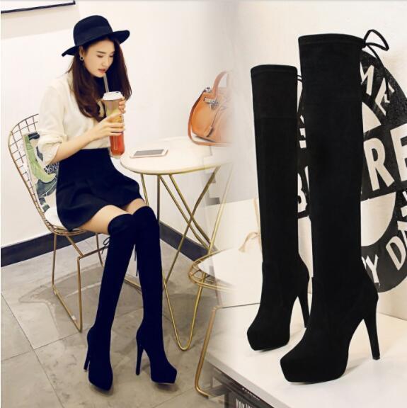femmes Platform Uk Sz Suede Knee High bottes Stilettos High Heel Sheos Sz35-40