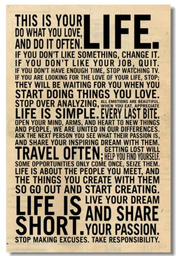 Poster This Is Your Life Motivational  Roome  Art Wall Cloth Print 1