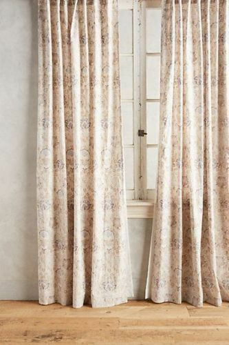 Nuevo anthropologie elania Floral Panel de cortina 108  X 50  - gris Neutral Azul