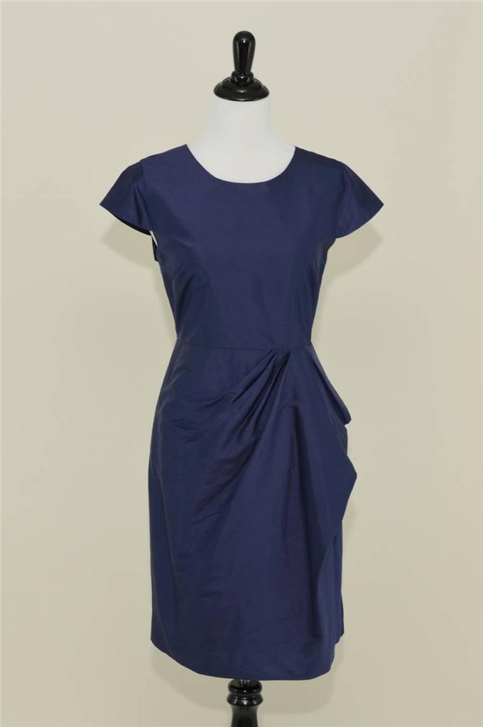 NEW J.CREW  CARSON DRESS IN SILK DUPIONI SZ 10 DARK NAVY BRIDESMAID PARTY