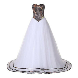 2020 Sweetheart Camouflage Wedding Dresses Tulle White Camo Formal Gown Bride Ebay
