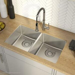 Details About 33 Kitchen Sink 16 Ga Stainless Steel Undermount 50 50 Equal Double Bowl Modern