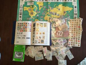 Lot of HARRIS STAMP ALBUM WW & US, 1900s/1970s, 2100 Stamps, Collectors Handbook