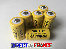 6 PILES ACCUS RECHARGEABLE CR123A 16340 3.7V 2500Mah GTF Li-ion BATTERIES