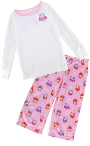 CARTER/'S Girls PYJAMAS Long Sleeve Top Fleece Bottoms OWL Design PINK White