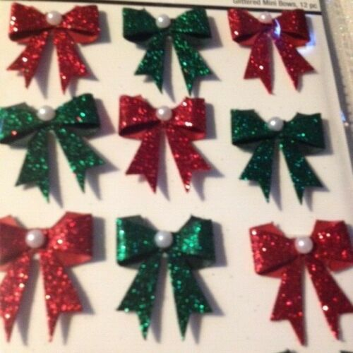 CHRISTMAS PAPER CRAFTS 3D STICKERS CHRISTMAS BOWS RED /& GREEN CHRISTMAS BOWS