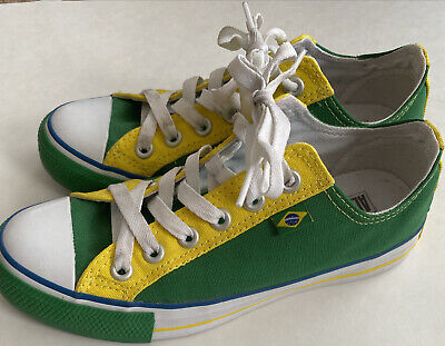 Rare Brazil Low Top Converse Green & Yellow Brazil Flag Converse Shoes So Clean!   eBay