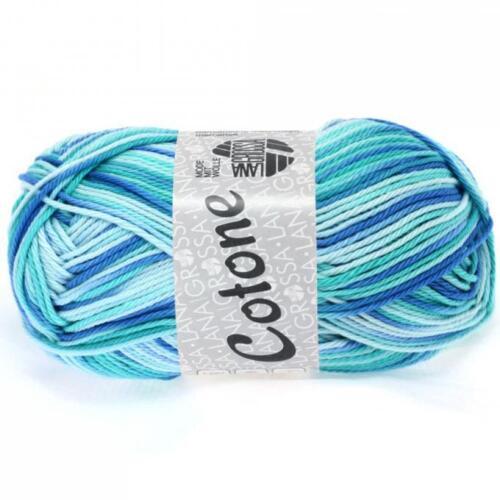 Lana Grossa Cotone print 50g Farbe 312 türkis blau