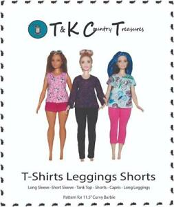 Sewing Pattern for Curvy Barbie Fashionista Doll Clothes by TKCT Leggings & Tops