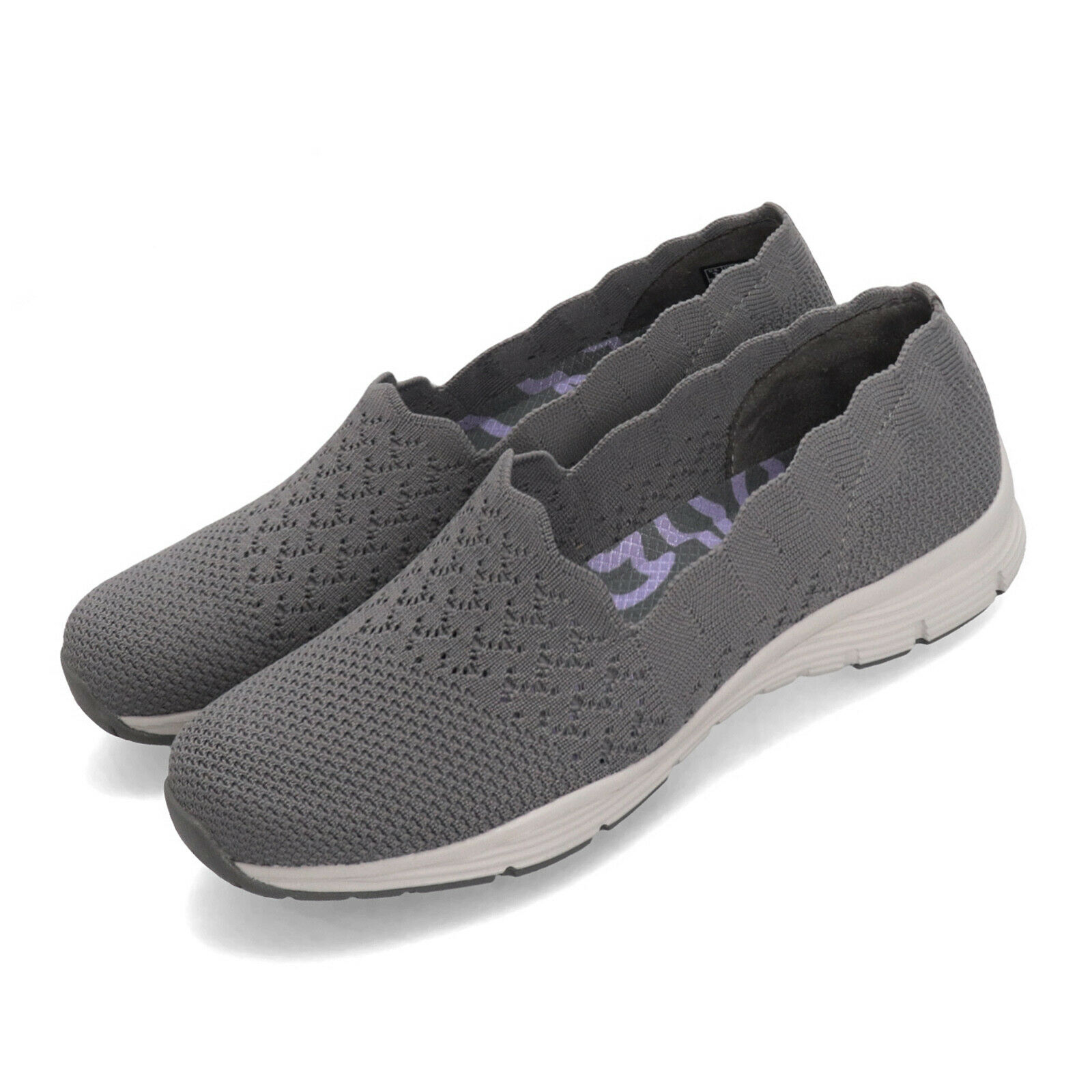 Skechers Seager-Stat Grey White Women Slip On Casual shoes Loafers 49481-GRY