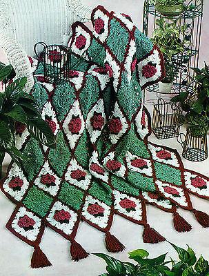 LOVELY Diamond Rose Afghan/Crochet Pattern Instructions