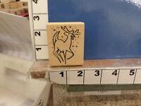 Magenta Reindeer Holiday Santa Sled Rubber Stamp 34s