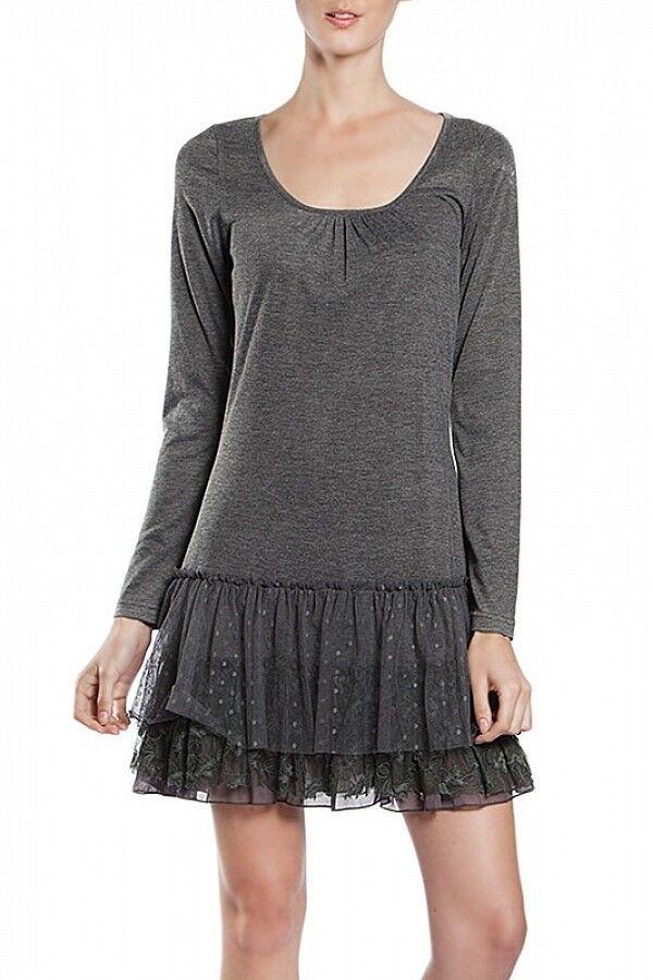 A'reve   Slip Dress Long Sleeve Charcoal