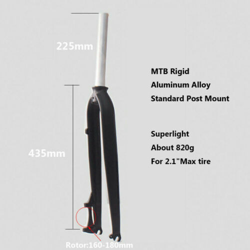 """26//27.5//29 in Aluminum Alloy Mountain Bike Fork 1-1//8/"""" Disc Brake Rigid MTB Fork"""