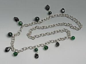 Kette-PERLALUCE-Silberfarben-gruen-schwarz-NEU-KP-29-99