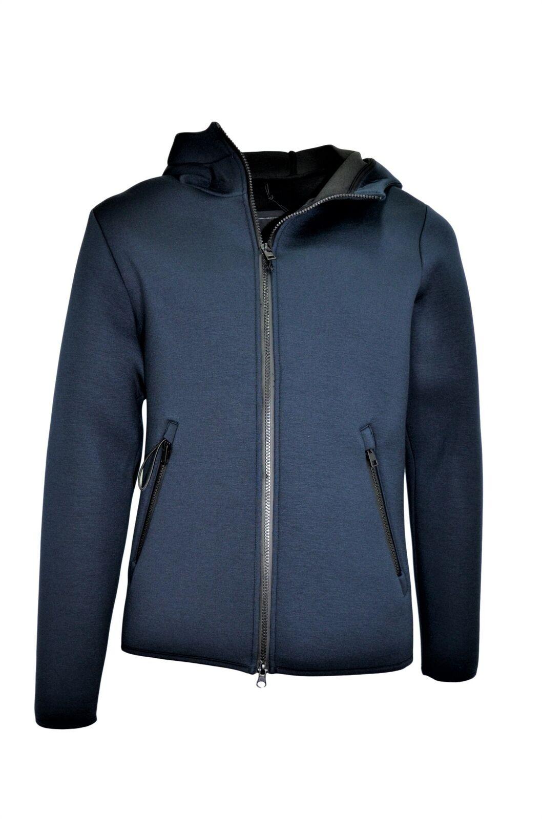 Hox Jacke Mann Neoprene Modell XU3536 Farbe Dark Blau Reißverschluss und Kapuze