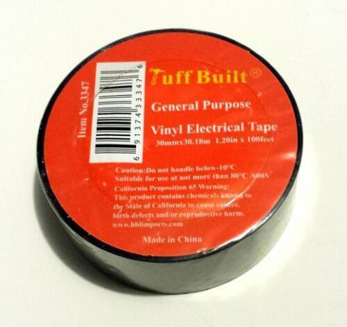 "LOT of 1x 3x 4x 6x General Purpose 1.20/"" Vinyl PVC Black Electrical Tape 100 FT"