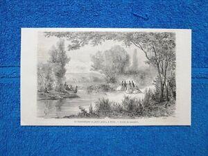 Gravure-Annee-1865-Jardin-public-a-Pesth-Hongrie-Giardino-pubblico-Ungheria