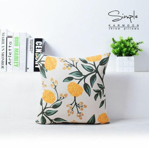"""Pillow Cushion Cover Linen 18/""""x18 Flower Decorative Case Plants Flower New Vivid"""