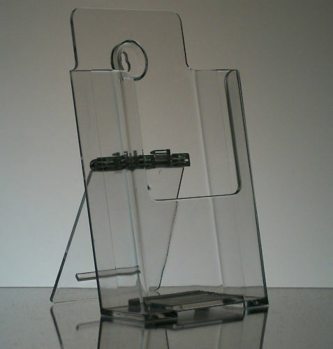Acrylic wall mount or desk top tri-fold brochure holder display holds 4x9