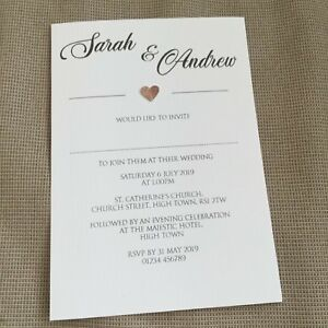 10-Personalised-Wedding-Evening-Invitations-Invites-Modern-Classic-Heart-Design