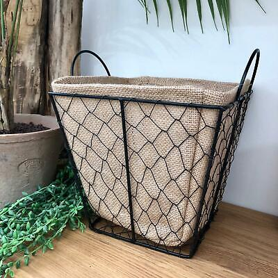 New French Country Farmhouse Rustic METAL WALL BASKET Leather Strap Handle