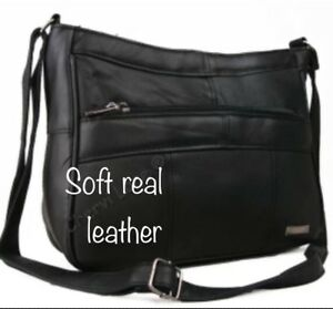 Details About Italian Leather Ladies Handbag Black Soft Leather Small Shoulder Hand Bags 1967