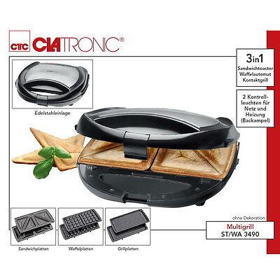 3in1 Multigrill: Waffeleisen Sandwichtoaster Kontaktgrill Grill Sandwich-Maker