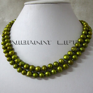 34-034-7-9mm-Olive-Freshwater-Pearl-Necklace-Off-Round-Strand-Fashion-Jewelry-U