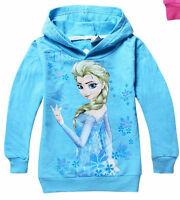 Regno Unito Stock Frozen Felpa Con Cappuccio Ragazze Maglione Elsa Blu 2 3 4 5 6
