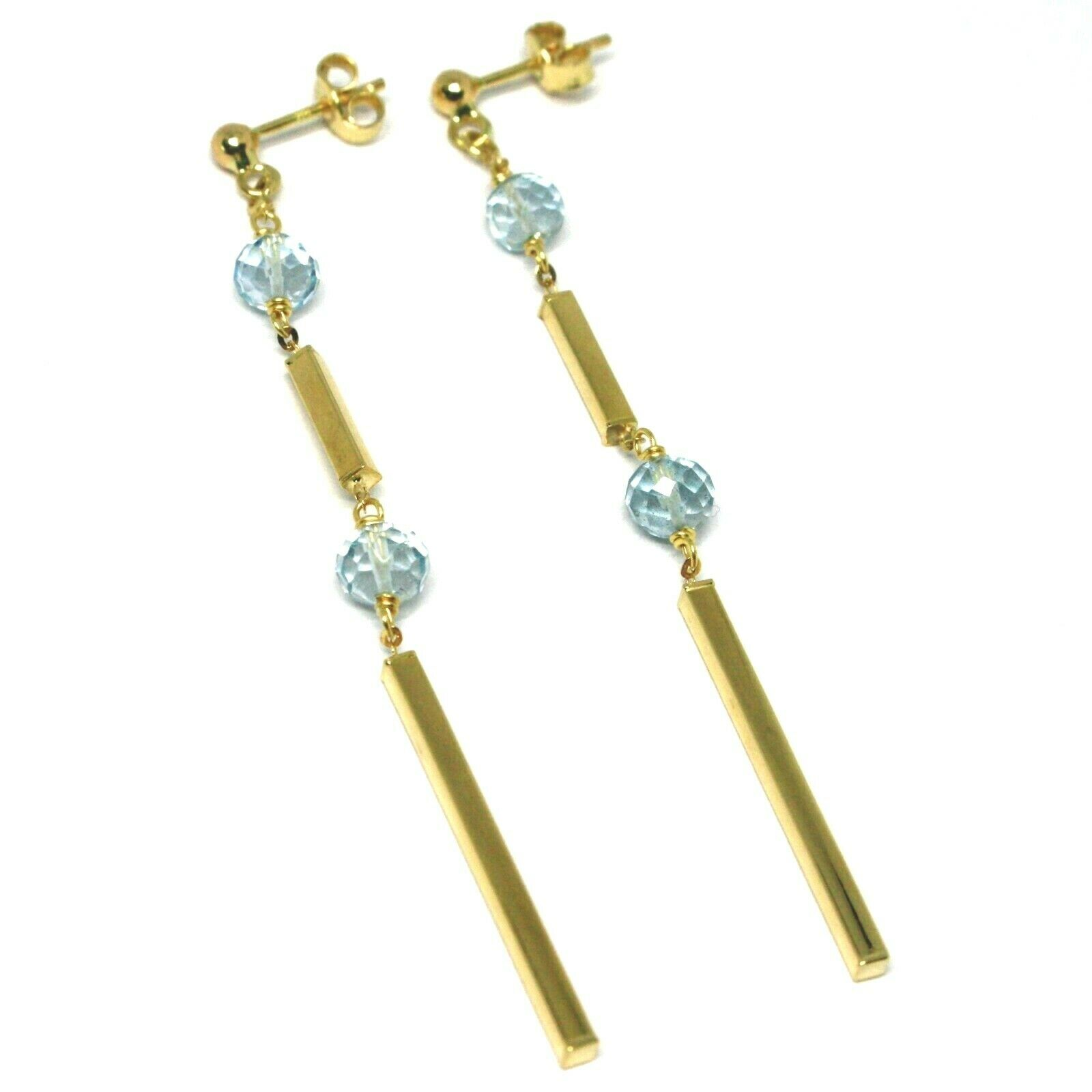 18K YELLOW gold PENDANT EARRINGS, FACETED AQUAMARINE, TUBES, LENGTH 2.75 INCHES