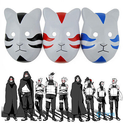 Naruto Ninja Shippuuden ANBU Anime Mask Cat Style Cosplay Costume Black Blue Red