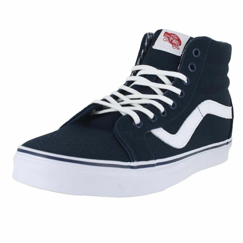 VANS SK8-HI REISSUE CANVAS CHECKERBOARD MEN SHOES BLUE VN0003CAIKU SIZE NU