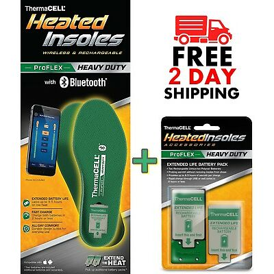 Thermacell PROFLEX Heavy Duty Heated Insoles Large + Extended Life Battery Pack