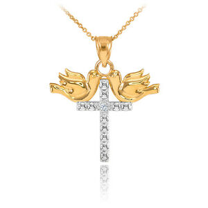 14k two tone gold pigeon cross diamond pendant necklace ebay image is loading 14k two tone gold pigeon cross diamond pendant mozeypictures Images