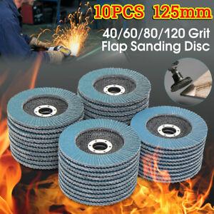 Disques-a-lamelles-10X-5-039-039-125mm-Poncage-Meulage-40-60-80-120-Meuleuse-d-039-angl