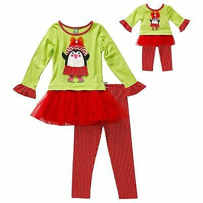 """Girl 4-14 and 18/"""" Doll Matching Penguin Red Green Winter Outfit ft American Girl"""
