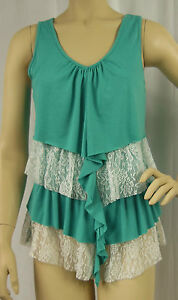 Crossroads-Blue-White-Lace-Tiered-Sleeveless-Tunic-Top-Tank-Size-XS-8-BNWT-Y95
