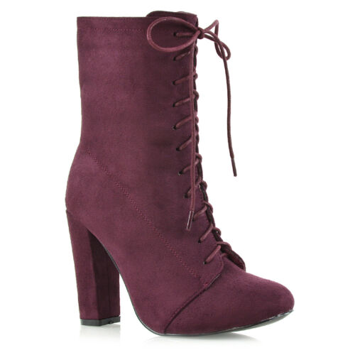 Womens High Heel Ankle Boots Ladies Lace Up Round Toe Calf Booties Shoes Size