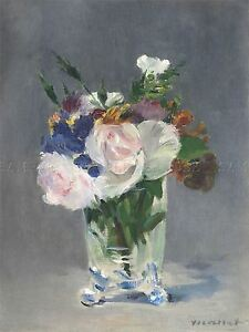 EDOUARD MANET FRENCH FLOWERS CRYSTAL VASE OLD ART PAINTING POSTER BB5218A