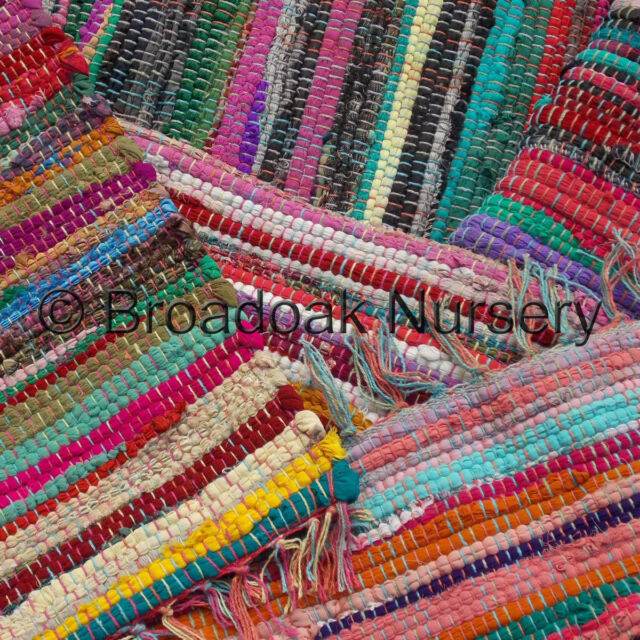 FAIR TRADE INDIAN MULTICOLOURED RAG RUG Recycled Cotton, Handmade, Various Sizes