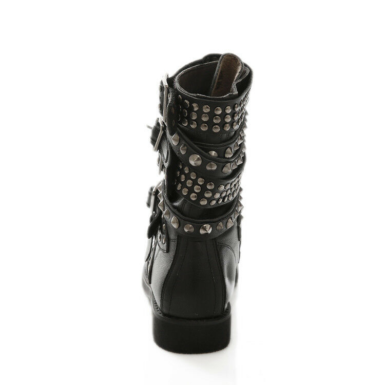 Gothic Womens Strapply Ankle Ankle Ankle Boots Flat Heel Motorcycle Buckle Rivet Biker shoes ac4aea