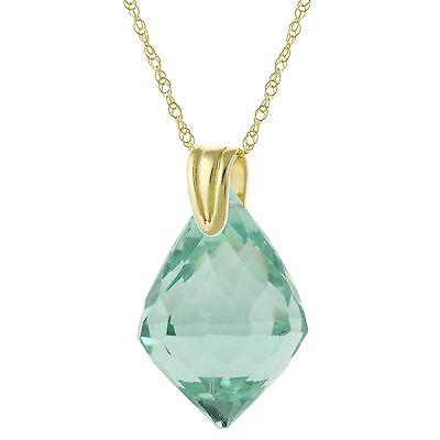 14k Solid Yellow Gold Natural AAA Briolette Green Aqua Quartz Pendant Necklace
