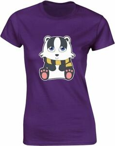 House-Mascot-Badger-Design-Ladies-Printed-T-Shirt-Casual-Cotton-Women-Summer-Tee