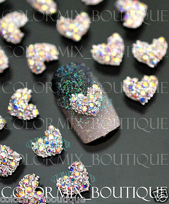 10pcs Nail Art Deco (8 x 7)mm Heart Alloy Jewelry AB Glitter Rhinestone #CA066