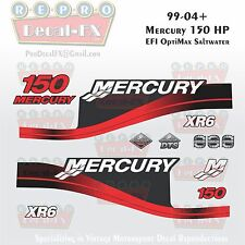 1999-04 Mercury 150HP XR6 Red Decals EFI OptiMax Saltwater 15pc Repro Outboard