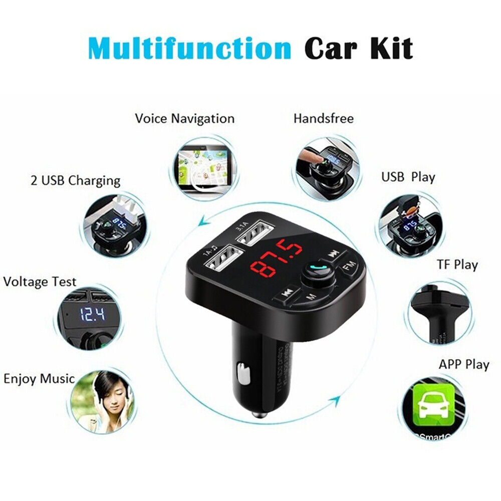 Bluetooth 5.0 Wireless FM Transmitter Car Audio MP3 Player Dual USB Charger Kit 3